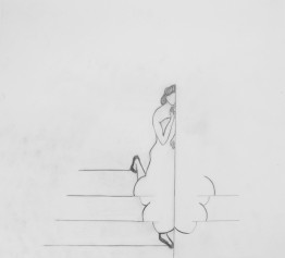 fold. 2009. graphite on tracing paper 40 x 40 cm. ( working title; figure walking down the stairs with mirrored skirt  in leave-pattern)