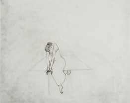 hanging 2006. graphite on tracing paper 48 x 39 cm. (working title; figure leaning on stick while balancing to sit on table)