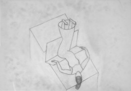 lying 2006. graphite on tracing paper 45 x 31 cm. (working title; figure lying on folding table seen from above)