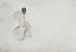 movement 2006. graphite on tracing paper 30 x 21 cm (working title; kneeling figure with echoing circles) private collection