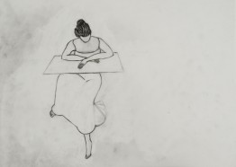 sitting 2006. graphite on tracing paper 42 x 29,5 cm. (working title; figure sitting, arms resting on square, shell-skirt)